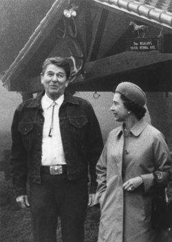 President Reagan and Queen Elizabeth at Rancho Del Cielo