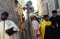 Orthodox Christian Priest Carry Crosses On Good Friday, Jerusalem
