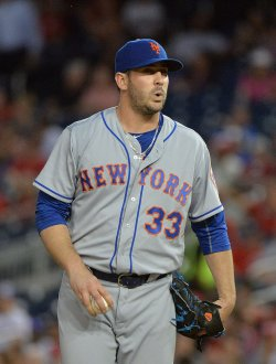 Mets pitcher Matt Harvey reacts in Washington