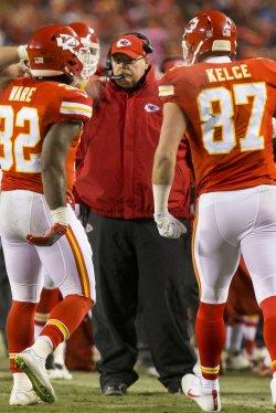Kansas City Chiefs Andy Reid calls a play in Kansas City