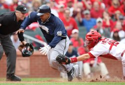 Milwaukee Brewers Prince Fielder tagged out at home