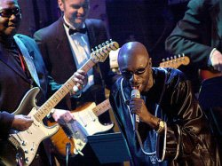 Isaac Hayes attends the 17th Annual Rock and Roll Hall of Fame Induction ceremonies