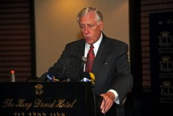 US House Minority Whip Steny Hoyer (D-MD) speaks at a press conference in Jerusalem