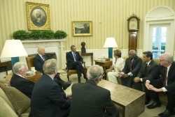 President Obama meets with House Democrats in Washington, DC