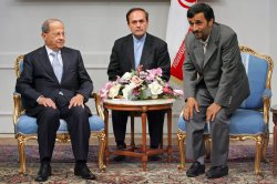 Iran's President Mahmoud Ahmadinejad meets Leader of Lebanese Free Patriotic Movement (FPM) Party Michel Aoun in Tehran