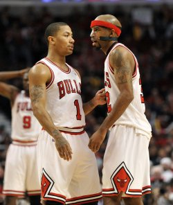 Bulls' Rose and Hamilton talk during Playoff Game in Chicago