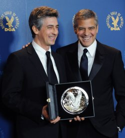 George Clooney and Alexander Payne appear backstage at the DGA Awards in Los Angeles