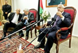 PALESTINIAN PRESIDENT MAHMOUD ABBAS MEETS WITH JAMES WOLFENSON IN GAZA