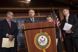 Democrats holds a press conference on the government shutdown in Washington, D.C.