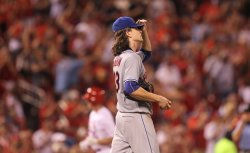 New York Mets starting pitcher Jacob Degrom gives up two run home run