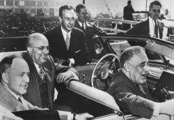 Industrailist Henry Kaiser and Roosevelt at shipyard