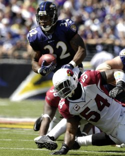 ARIZONA CARDINALS VS BALTIMORE RAVENS IN BALTIMORE