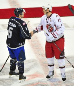 Eirc Staal and Nicklas Lidstrom at the 2011 NHL All-Star Game