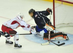 Jonas Hiller blocks a shot during the 2011 NHL All-Star Game