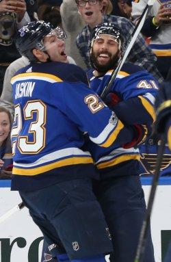St. Louis Blues Dmitrij Jaskin scores goal