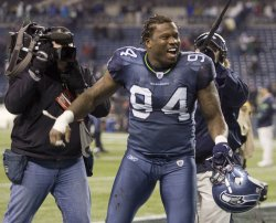 Seattle Seahawks defensive tackle Anthony Hargrove celebrates the Seahawks 31-14 victory over the Philadelphia Eagles.