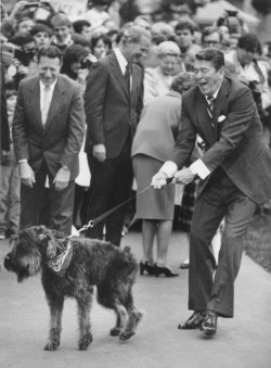 Ronald Reagan with Dog Lucky