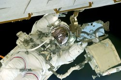 NASA STS-134 Astronaut Andrew Feustel participates in a spacewalk outside the International Space Station