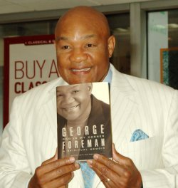 """GEORGE FOREMAN PROMOTES HIS BOOK""""GOD IN MY CORNER"""" IN NEW YORK"""