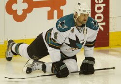 Sharks Blake Stretches before Game Six in Denver