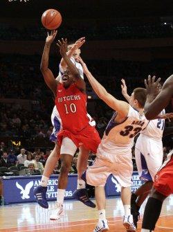 Rutgers Scarlet Knights James Beatty plays defense on Seton Hall Pirates Jordan Theodore at the NCAA Big East Men's Basketball Championships in New York