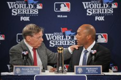 New York Yankees pitching great Mariano Rivera wins the Commissioner's Historic Achievement Award in Boston