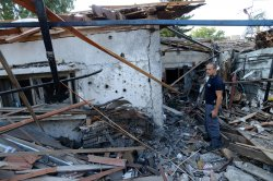 An Israeli House Is Destroyed By Hamas Rocket Near Ben Gurion Airport