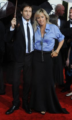 David Duchovny and Tea Leon arrive at the 67th annual Golden Globe Awards in Beverly Hills