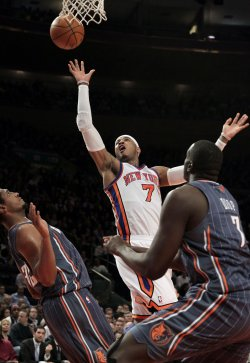 New York Knicks Carmelo Anthony shoots at Madison Square Garden in New York