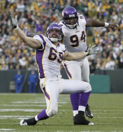 Vikings Allen celebrates with Williams in Green Bay, Wisconsin