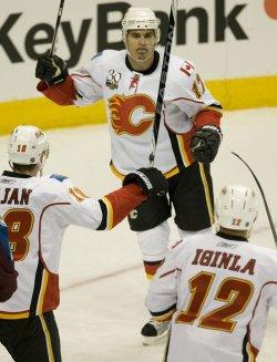 Flames Bourque Celebrates Scoring Against the Avalanche in Denver