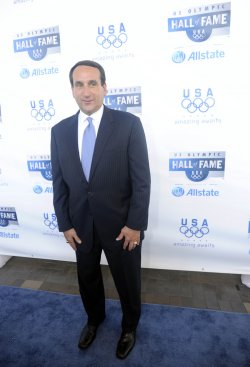 Dream Team coach Mike Krzyzewski on the blue carpet at U.S. Olympic Hall of Fame Class of 2009