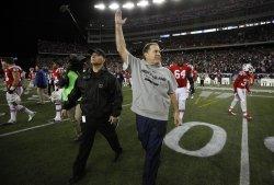 Patriots Belichick celebrates against Jets at Gillette Stadium in Foxboro, MA