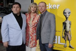 "Nick Frost, Blythe Danner and Simon Pegg attend the premiere of ""Paul"" in Hollywood"