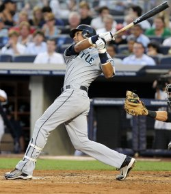Seattle Mariners Franklin Gutierrez hits a solo homer at Yankee Stadium in New York