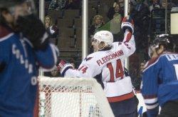 Capitols Fleischmann Celebrates Goal Against Avalanche in Denver