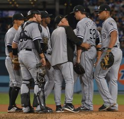 White Sox Jake Petricka relieves against Dodgers in Los Angeles