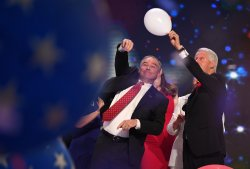 Sen. Tim Kaine and President Bill Clinton at the DNC convention in Philadelphia