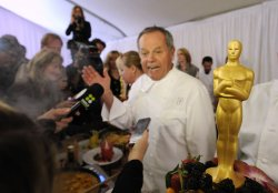 Wolfgang Puck is interviewed at a Governors Ball preview for the 83rd annual Academy Awards in Hollywood