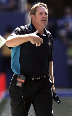 Jacksonville Jaguars coach Del Rio questions a referee's call against the Inndianapolis Colts