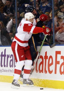 Detroit Red Wings Nicklas Lidstrom and St. Louis Blues David Backes