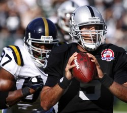 New York Jets Calvin Pace causes two fumbles as the Raiders are shut out in Oakland, California