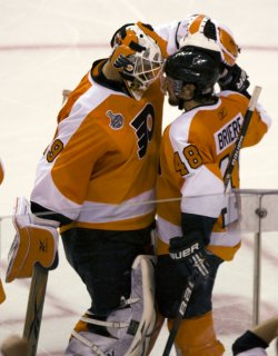 The Philadelphia Flyers celebrate winning game three of the Stanley Cup Playoffs