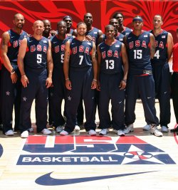 USA Olympic Basketball team at Rockefeller Center in New York
