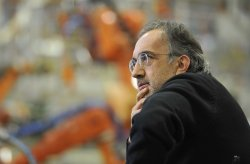 Chrysler Chairman and CEO Marchionne listens at Event in Belvidere, Illinois