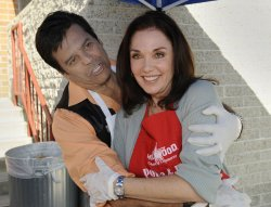 Erik Estrada and Patricia Heaton show appreciation to Hollywood's Police and Fire Department during the17th annual Appreciation Day in Hollywood