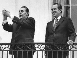 Russian Party Chief Leonid Brezhnev with President Richard M. Nixon at White House balcony