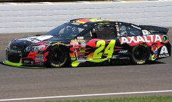 Four time Brickyard 400 winner Jeff Gordon practices at the Indianapolis Motor Speedway