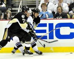 Penguins Jordan Staal Take Diving Shot Against Tampa Bay in Pittsburgh