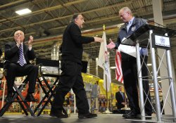 Chrysler Chairman and CEO Marchionne Shakes Hands with Kavajecz in Belvidere, Illinois